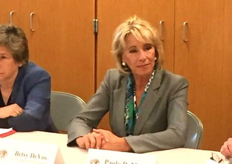Education Secretary Betsy DeVos participates in a roundtable discussion during her visit to Van Wert, Ohio
