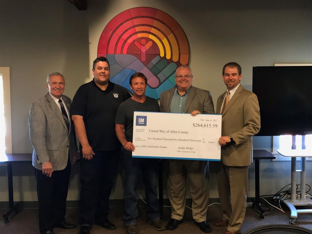 Left to Right:  Mayor Tom Henry, UAW Local 2209 President Brian Hartman, Shop Chairman Rich LeTourneau, General Motors Fort Wayne Assembly Plant Manager Mike Thomas, and President and CEO of United Way of Allen County David Nicole (Photo//United Way)