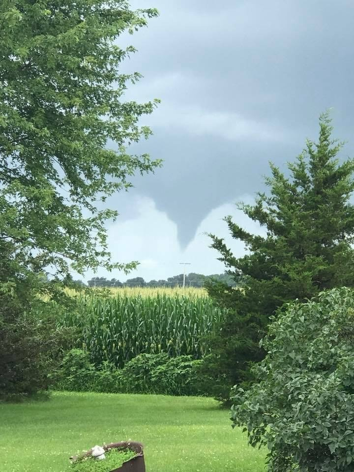 Photo of a funnel cloud by Amanda Ranae Criswell. Taken around 3:35 PM EDT looking N-NW from Burnettsville, IN. (Photo//Amanda Criswell/NWS)