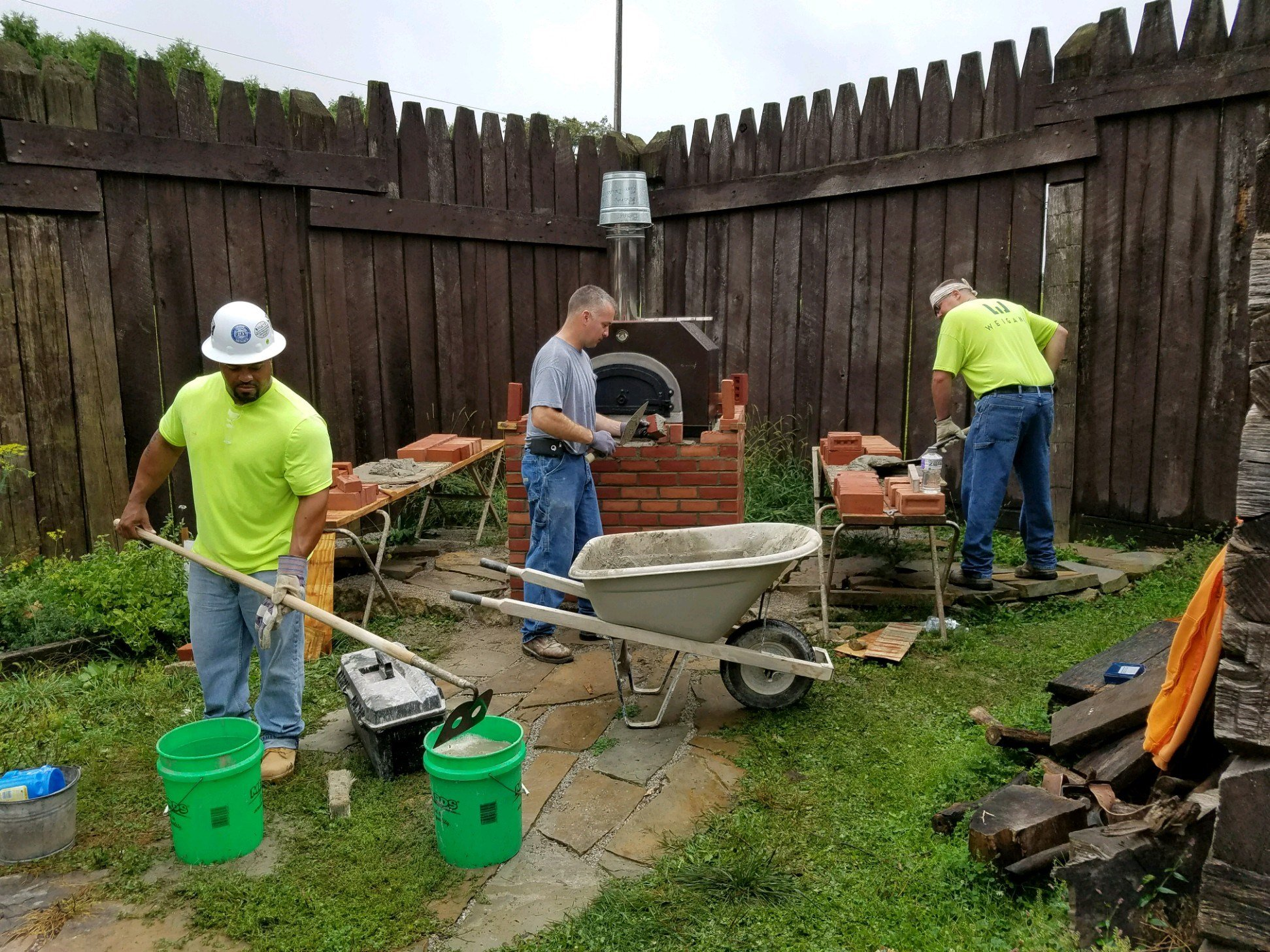 Local unions, Bricklayers Local 4 and Laborers Local 213, teamed up and donated their time to help install a new bake oven at the Old Fort to be used for wood fire brick oven cooking demonstrations. (Photo//Historic Fort Wayne)