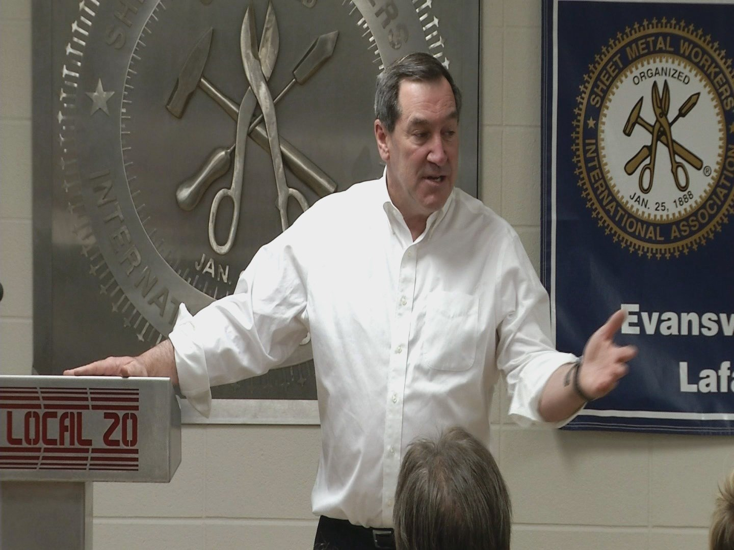 Sen. Joe Donnelly (D-IN) addresses labor leaders at Sheet Metal Workers Local 20 Sunday